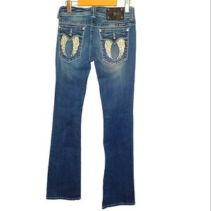 Miss me angel wing bling bootcut jeans size 29